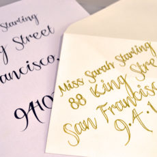 Hand written calligraphy wedding invites