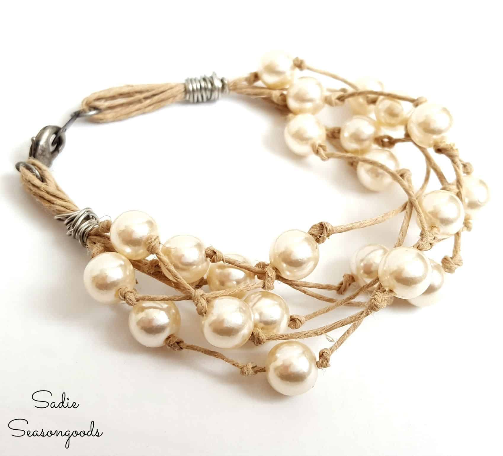 Hemp string bracelet with pearls