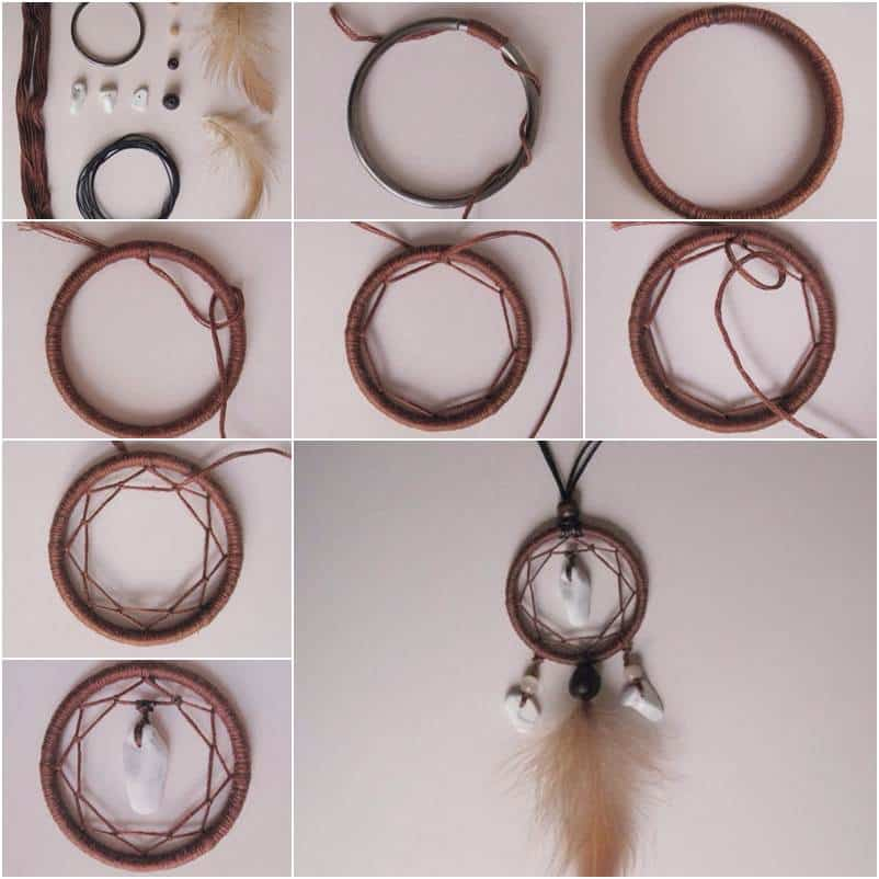 Miniature dream catcher pendant