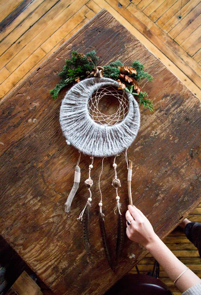 Moon inspired yarn wrapped dream catcher