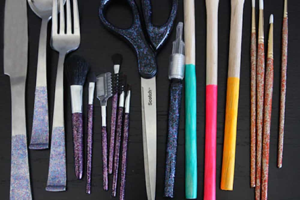 Nail polish sparkled utensils