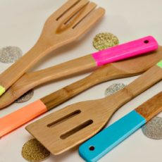 Neon painted kitchen utensils