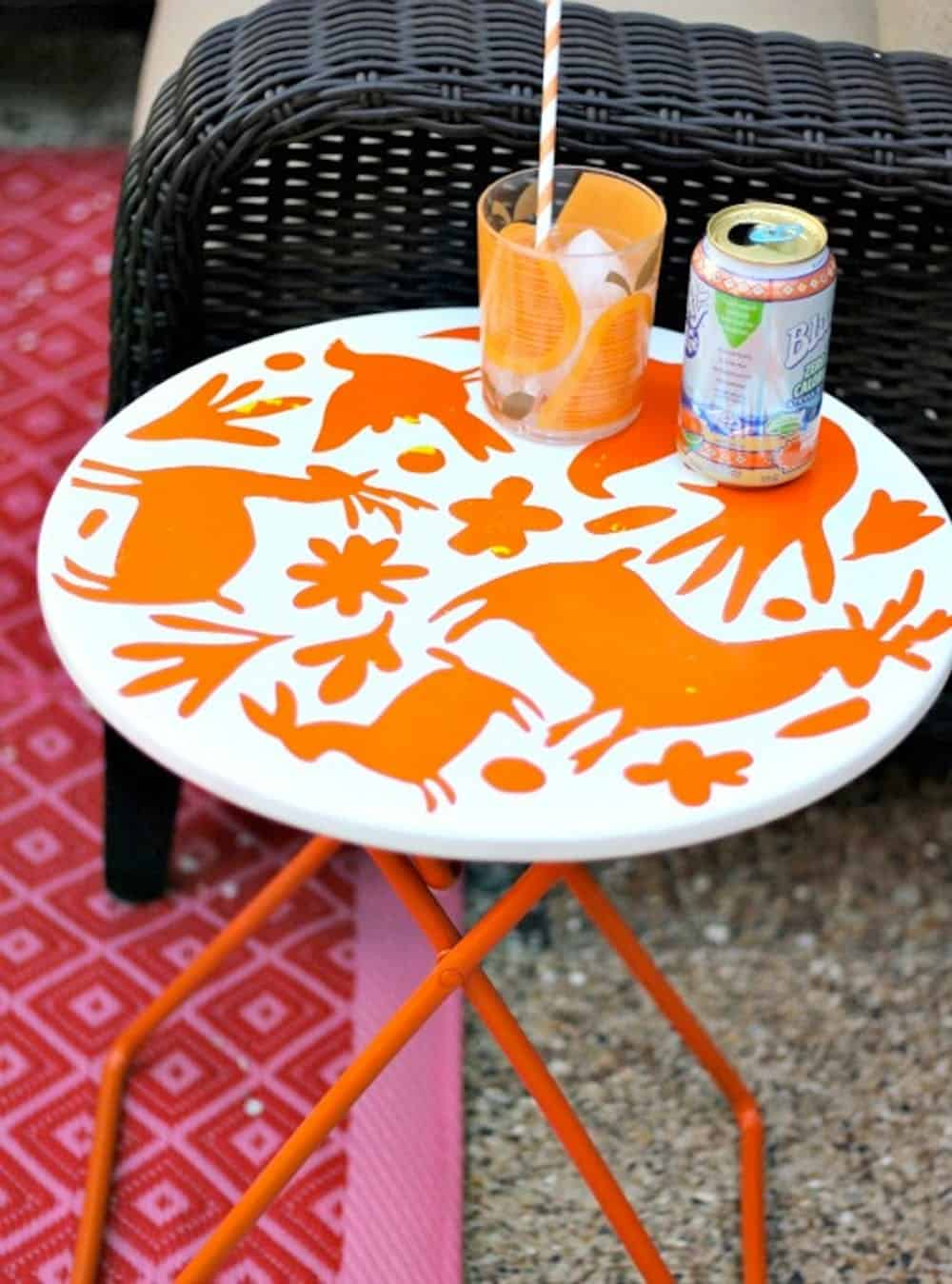 Orange stencil diy table