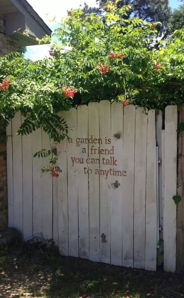 Paint stenciled gardening quote