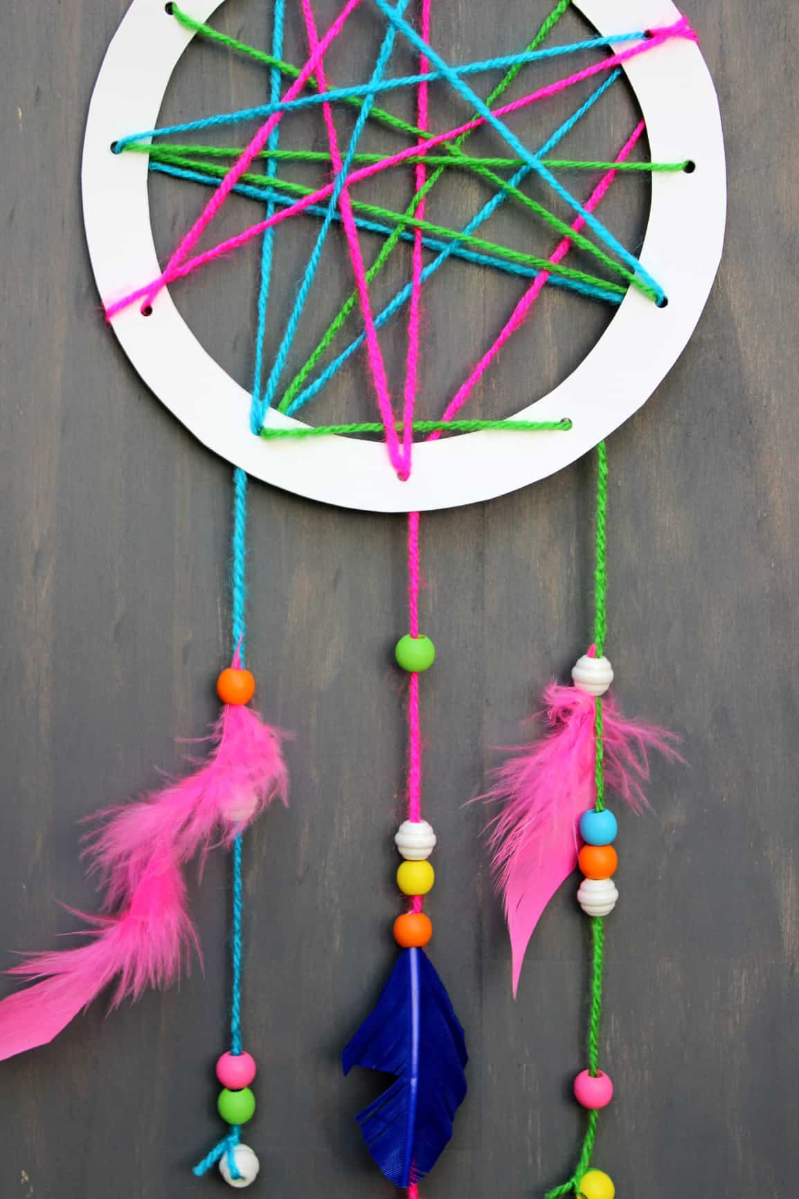 Paper plate and yarn dream catcher