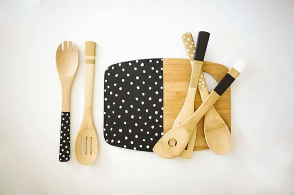Polka dotted utensils and matching cutting board
