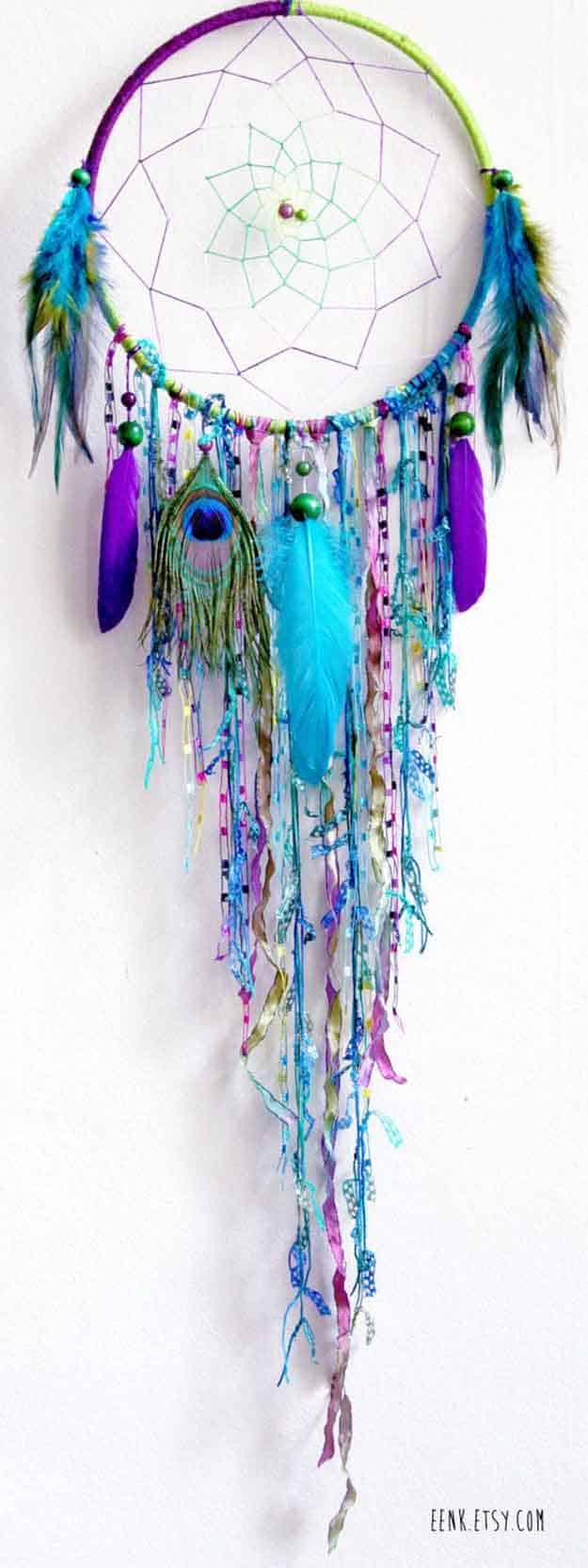 Rainbow peacock feather dream catchers