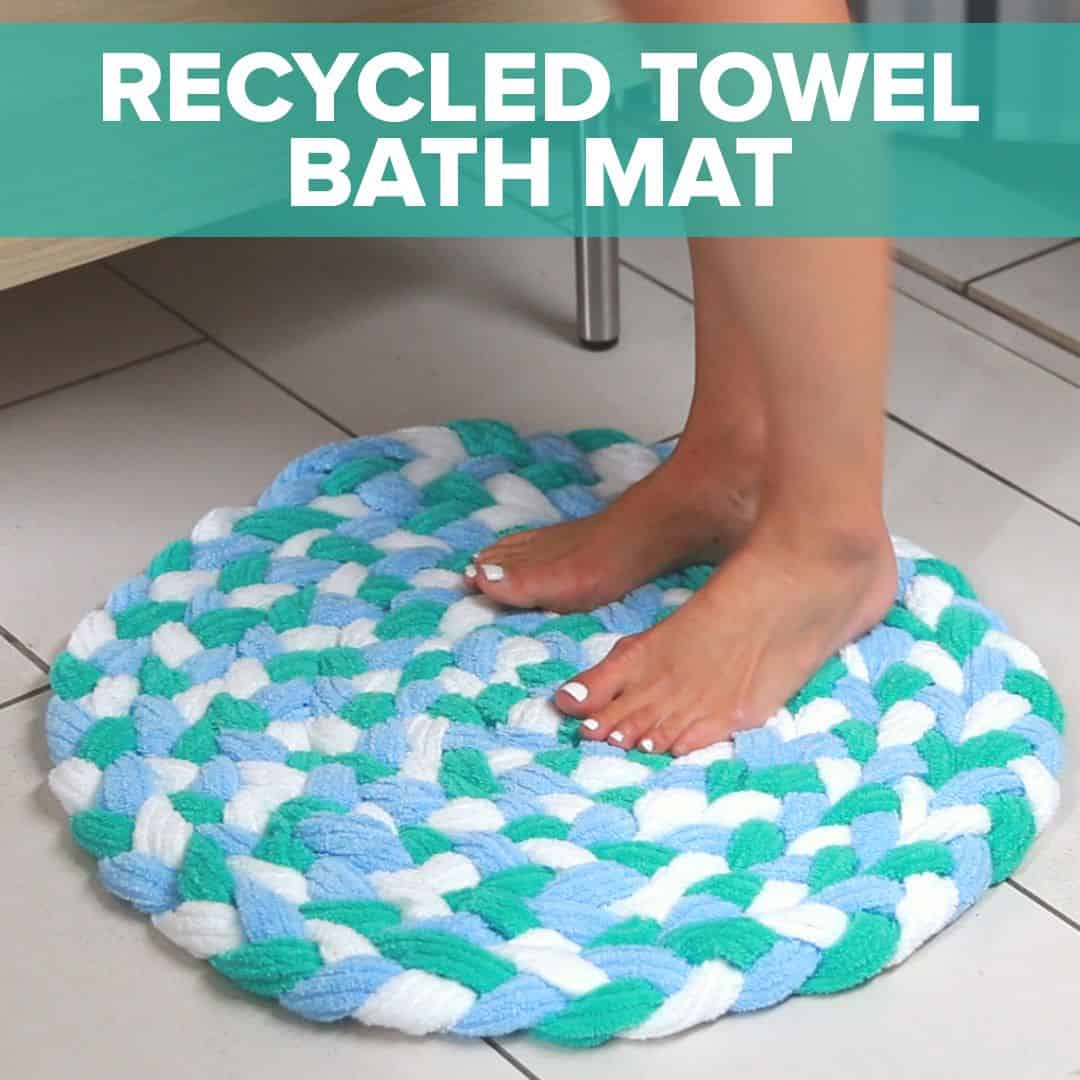 Recycled towel bath mat