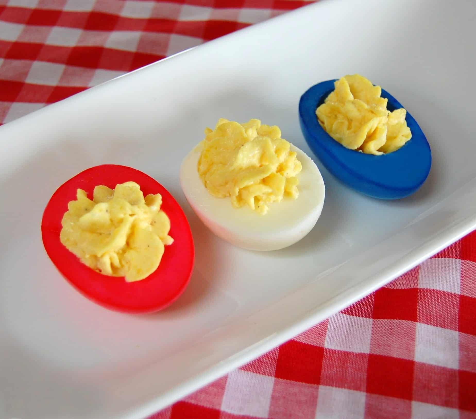 Red white blue deviled eggs