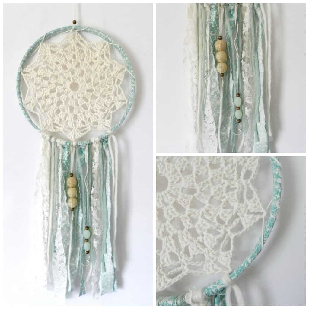 Ribbon and crocheted lace dream catcher