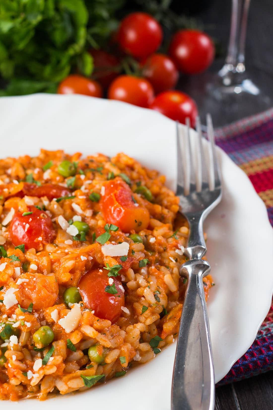 Roast tomato and pea risotto