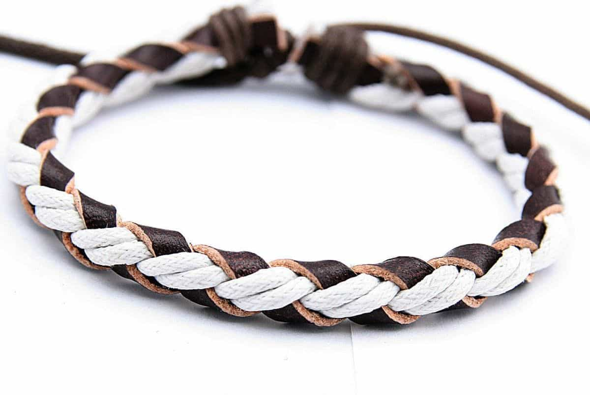 Rope and leather knotted bracelet for guys