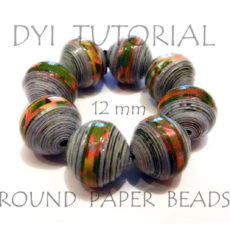 Round paper beads from magazine pages