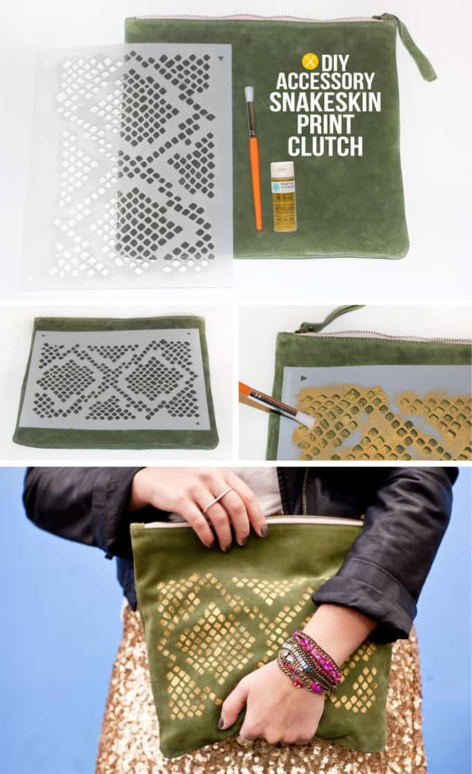 Snakeskin print clutch