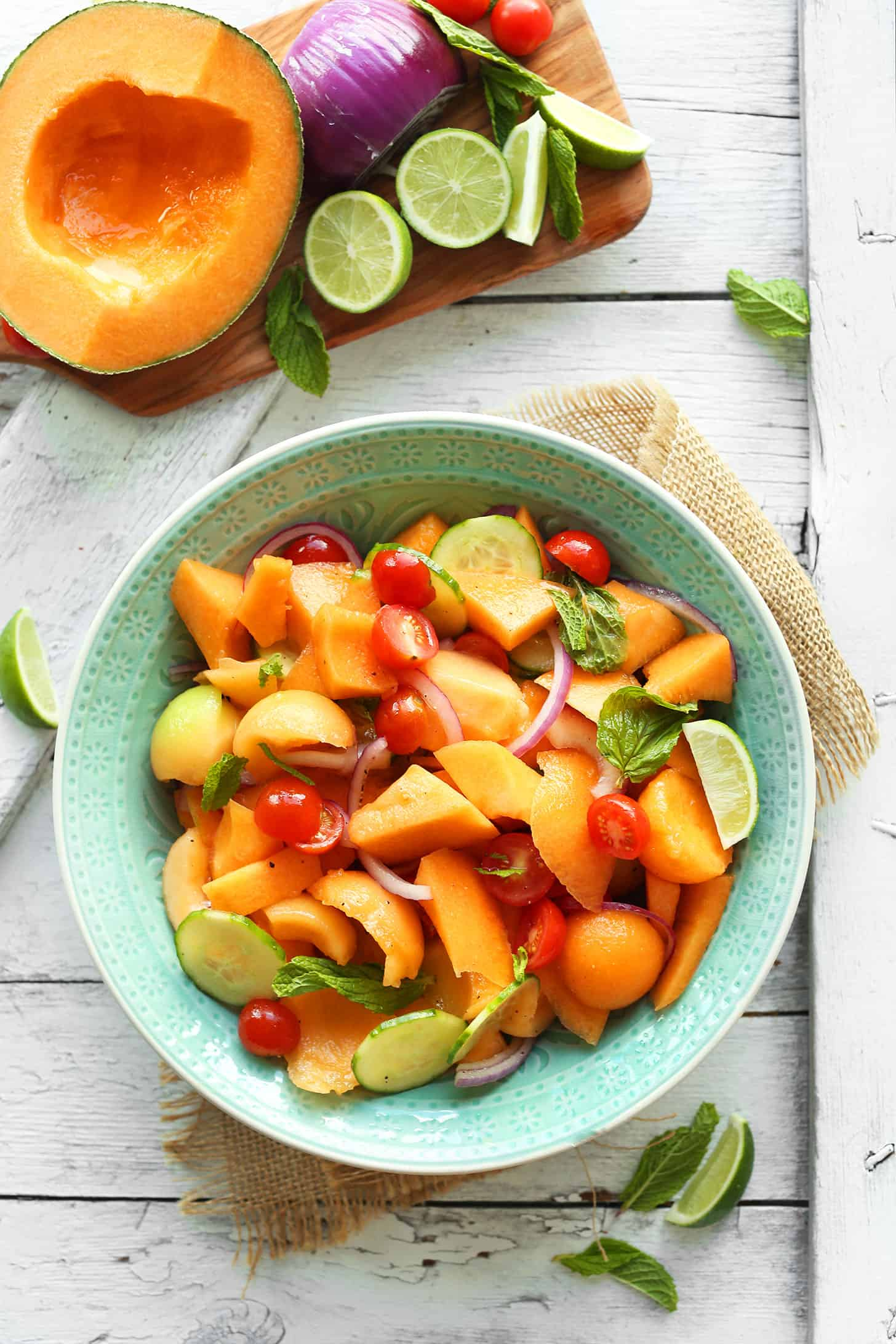 Summer tomato and cantaloupe salad