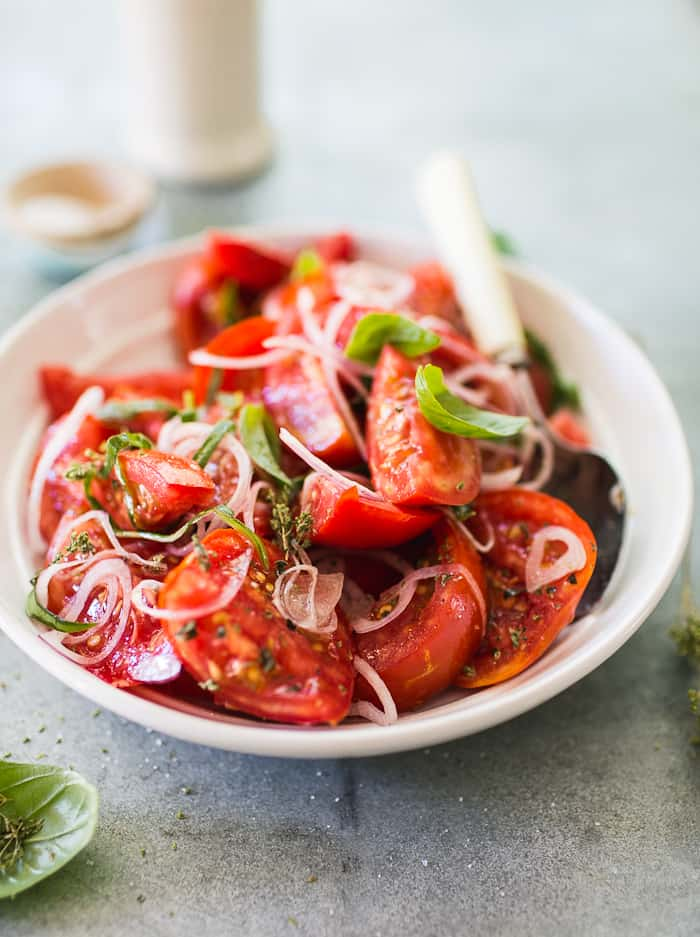 Summer tomato salad with tangled herbs