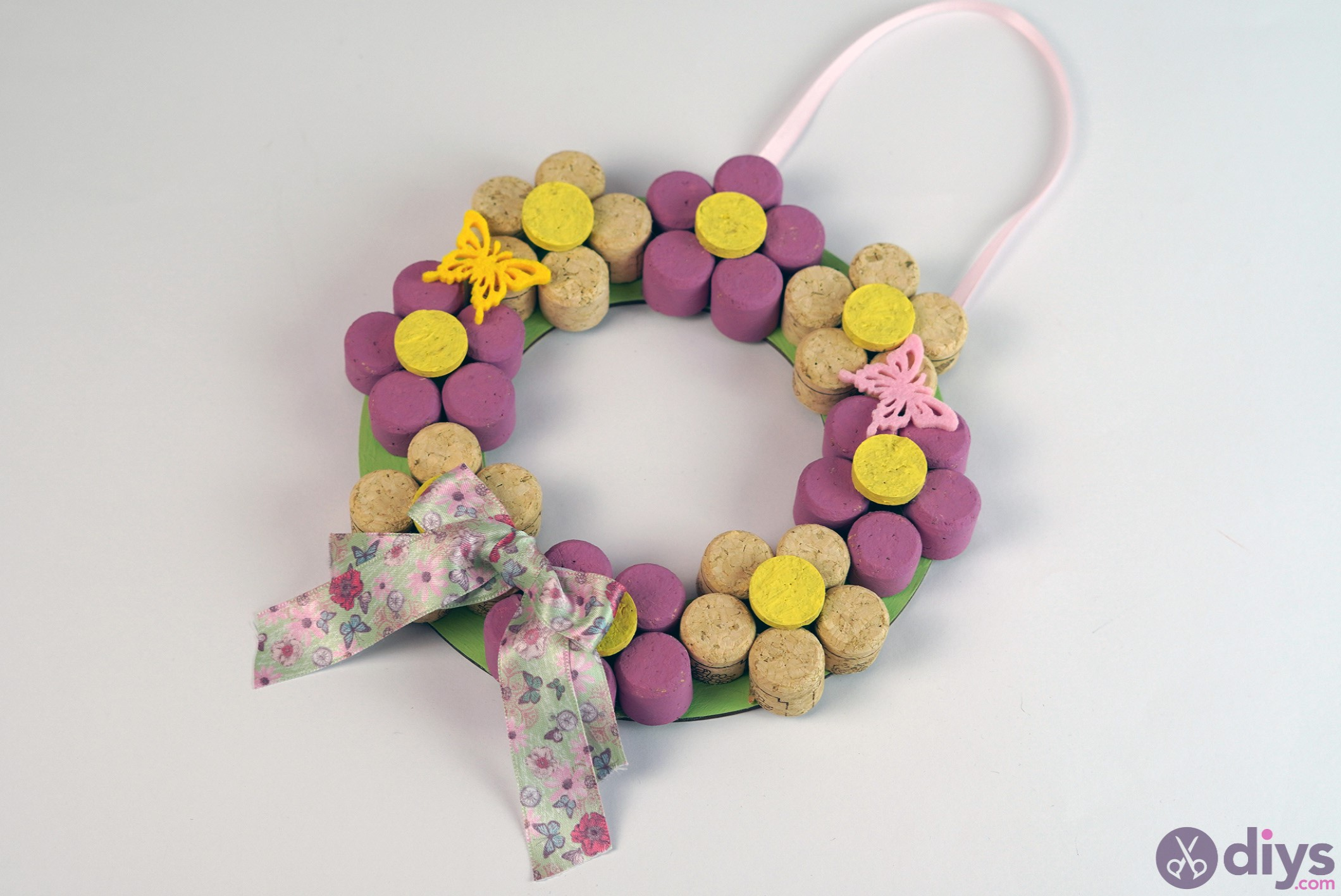 Wine cork floral wreath