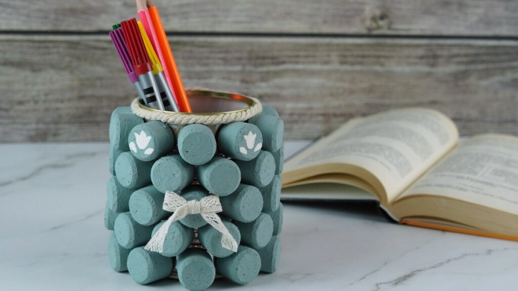 Wine cork pencil holder