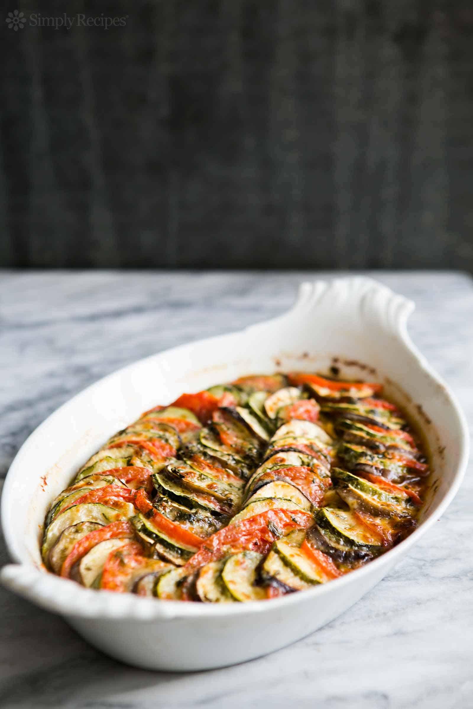 Zucchini, eggplant, and tomato gratin