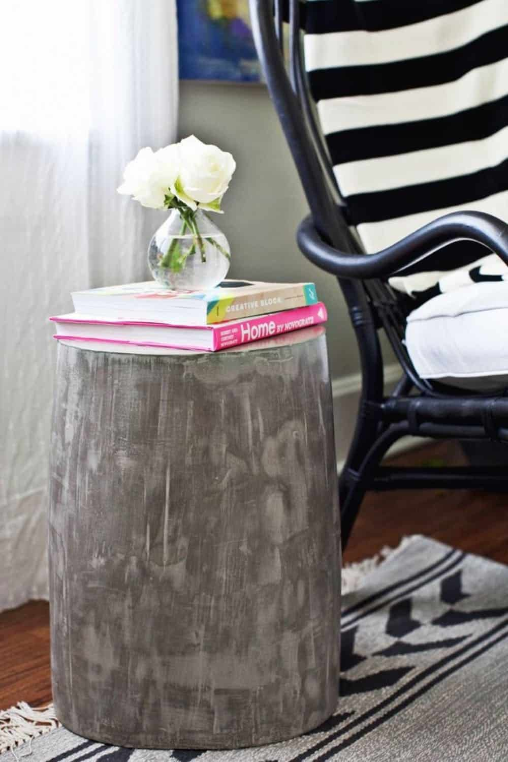 Diy cement side table