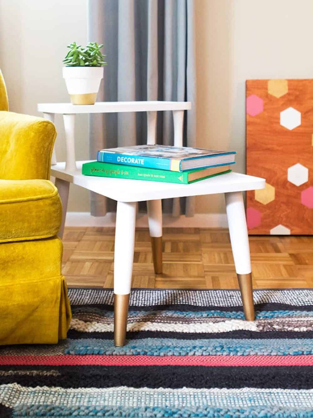 Diy gold dipped mid century modern side table