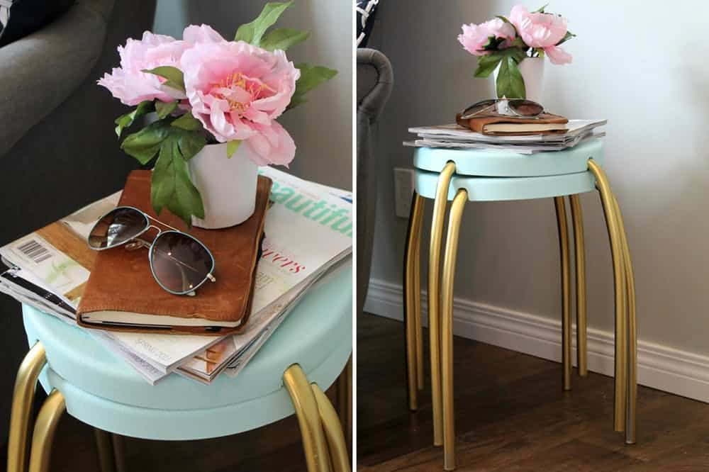 Retro blue and gold side table diy