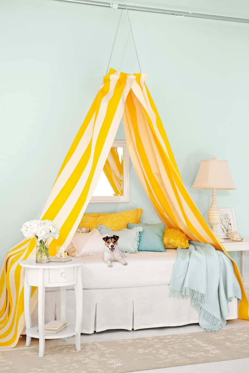 Yellow stripes diy canopy
