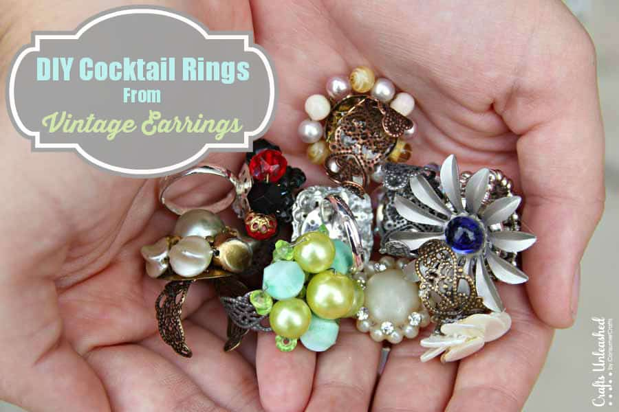 Big cocktail rings from vintage earrings