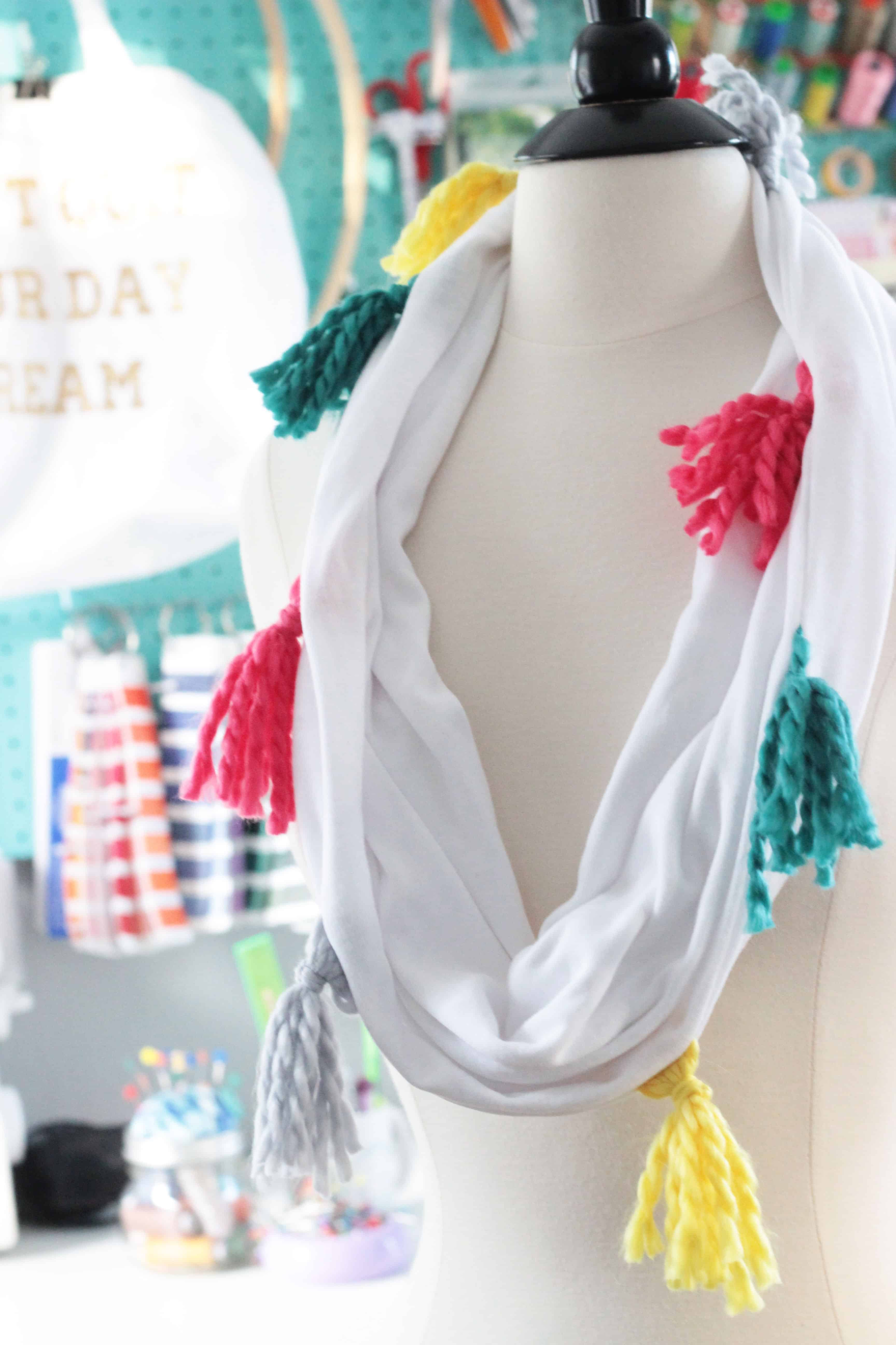 Bright tassel infinity scarf