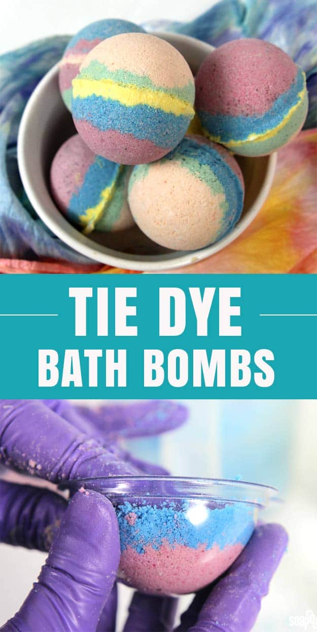 Bright tie dye bath bombs