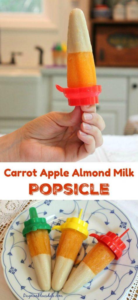 Carrot apple almond milk popsicles