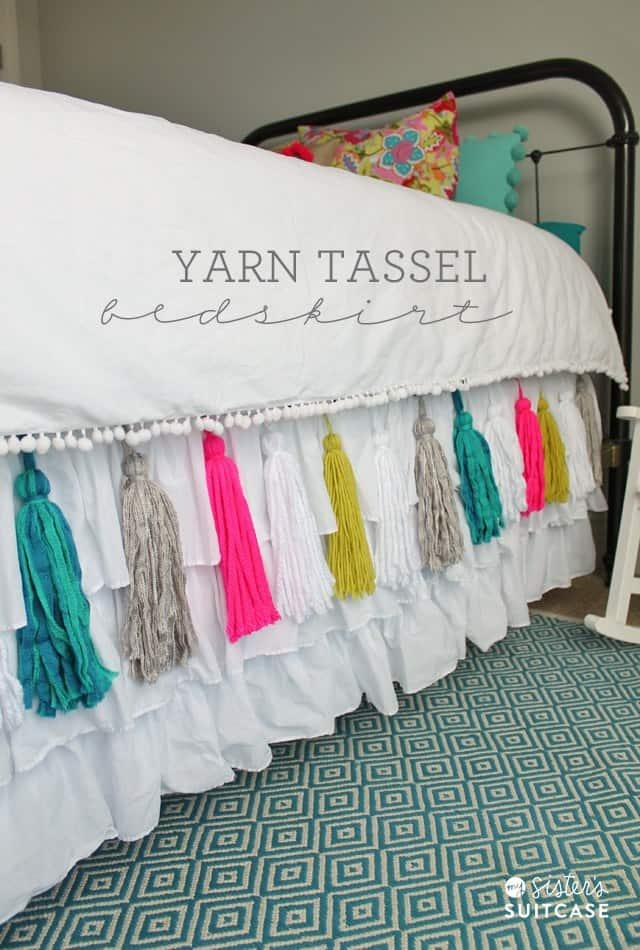 Colourful yarn tassel bed skirt