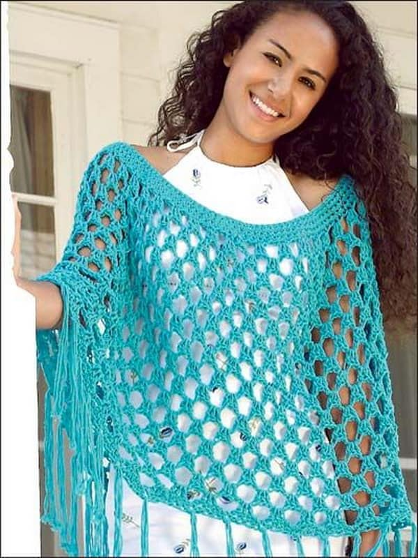 Crocheted light and airy poncho