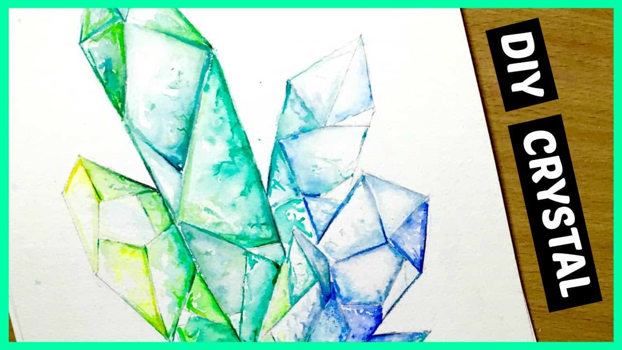 Crystal cluster water colour paintings