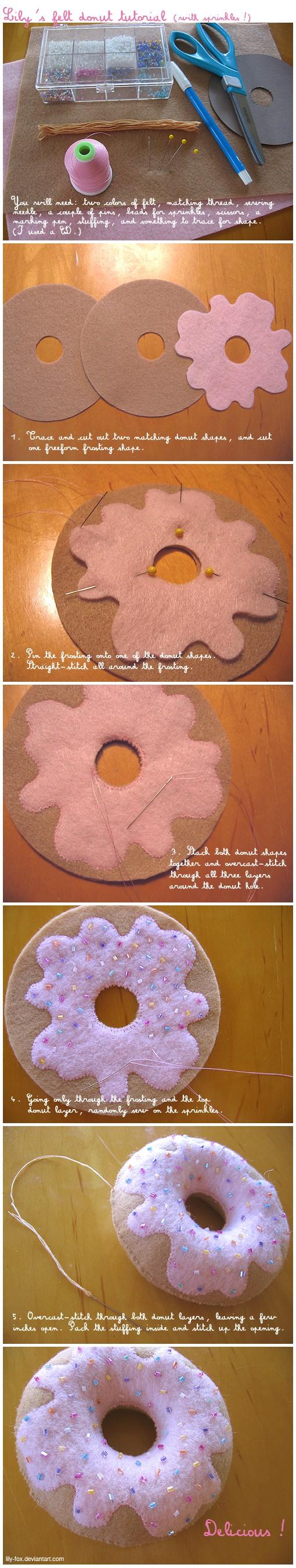 Cute hand sewn felt donut