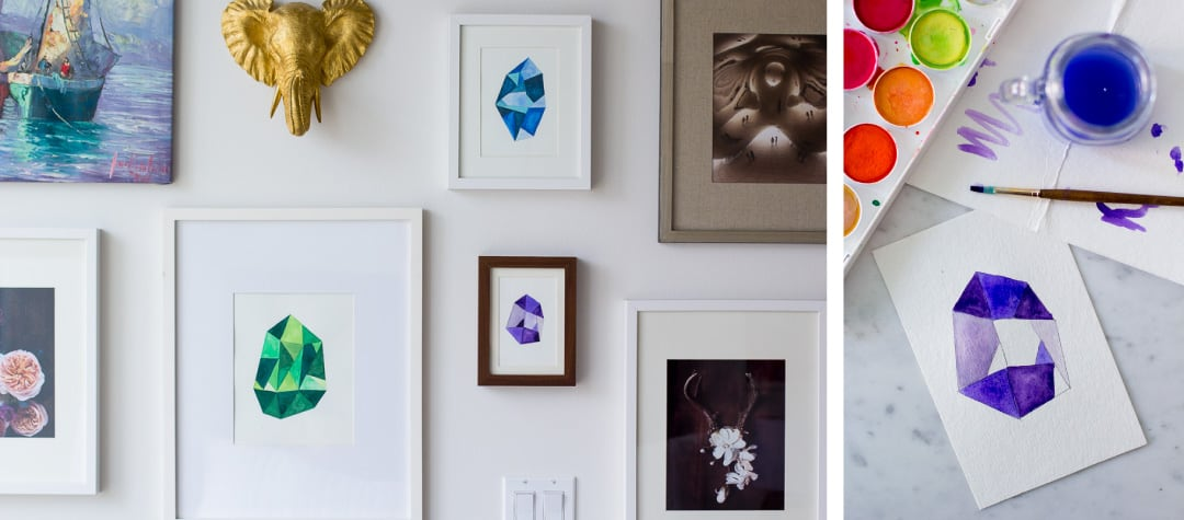 Diy faceted gemstone wall art