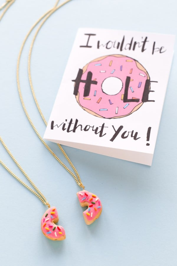 Diy halved donut friendship necklaces