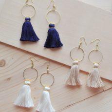 Diy hoop and tassel earrings