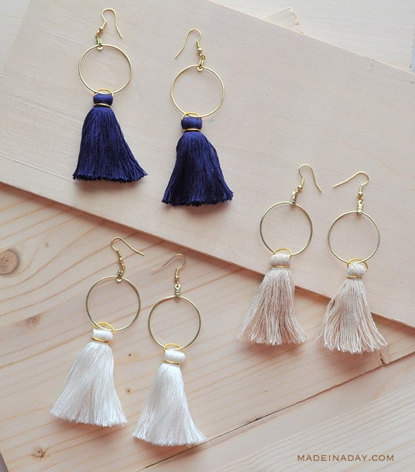 Diy hoop and tassel earrings