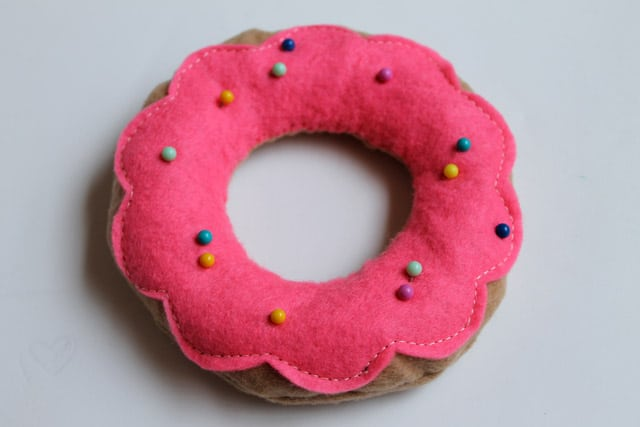 Donut pin cushion with pin sprinkles