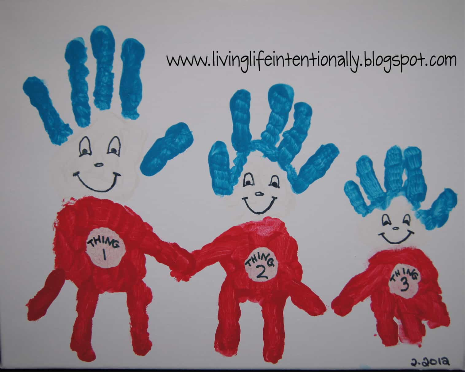Dr seuss inspired thing 1, thing 2 painting