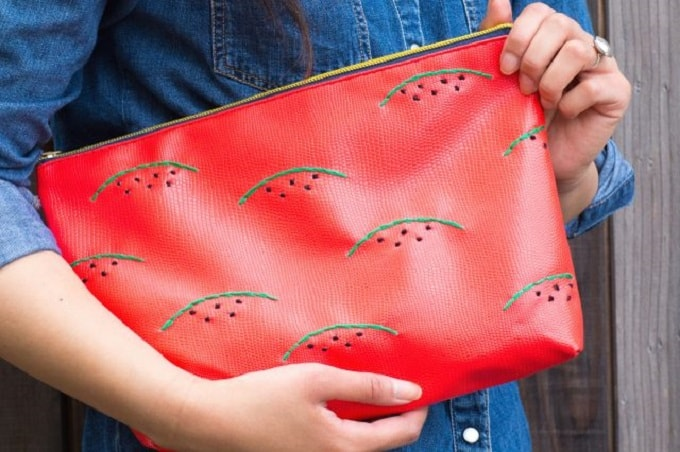 Embroidered abstract watermelon bag