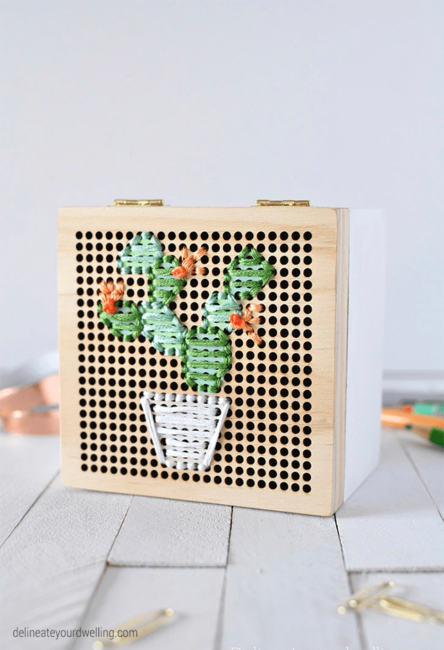 Embroidered cactus box