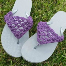 Fancy crocheted flip flop covers