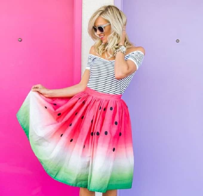 Fanric dyed watermelon circle skirt