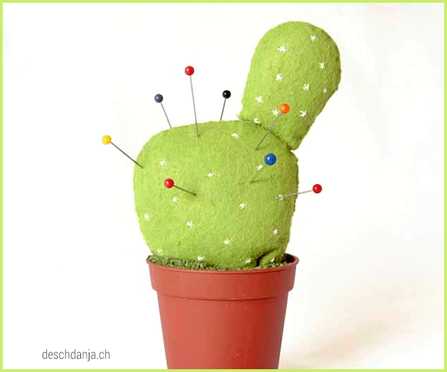 Felt cactus pincushion