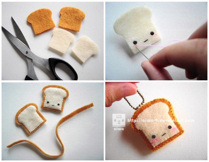 Felt plush toast key chain