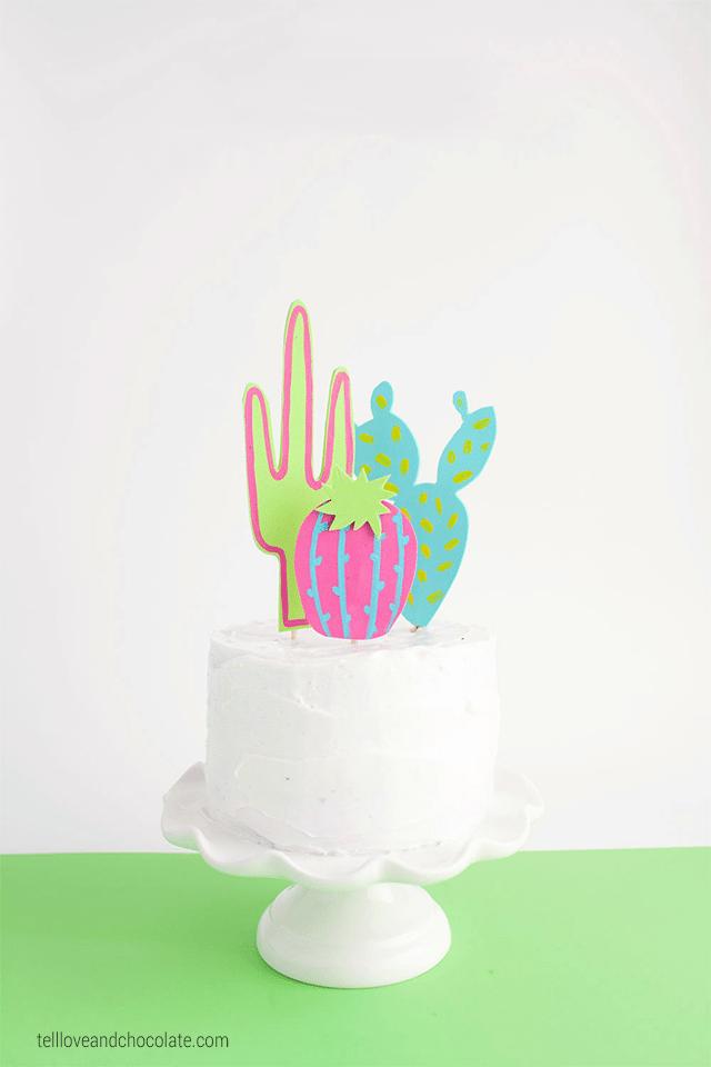 Foam cactus cake topper