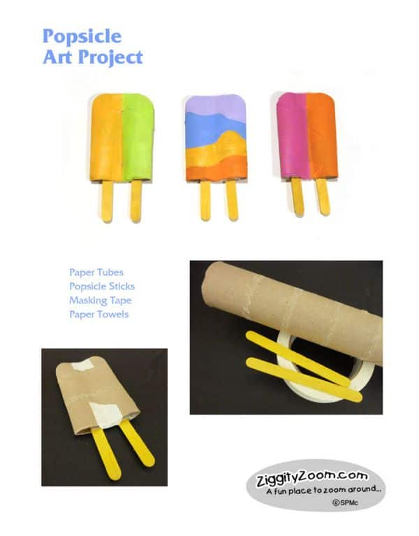 Folded toilet paper roll popsicle craft