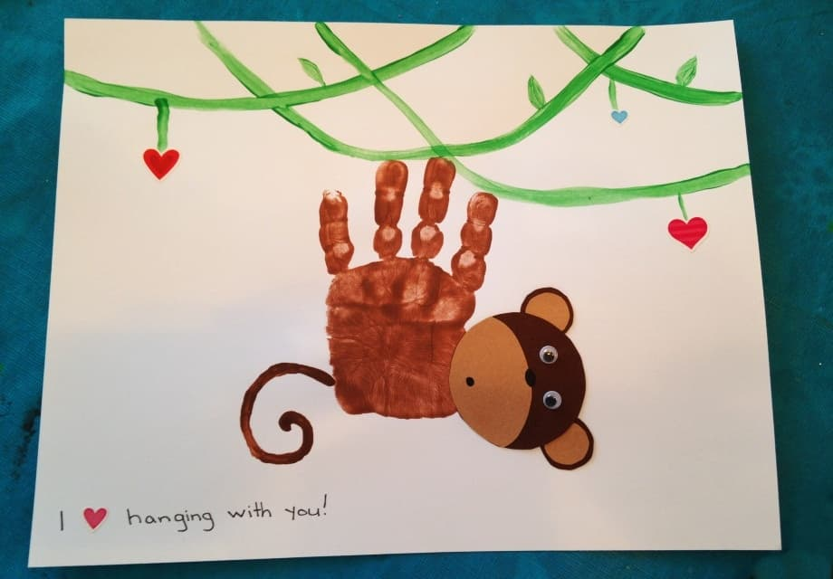 Handprint monkey painting